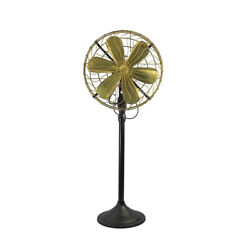 14 Brass Blade Electric Floor Stand Fan Oscillating Vintage Metal Antique Style