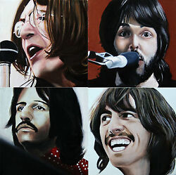 4 Original Paintings Acrylic On Canvas Portraits Of The Beatles Let It Be Cover