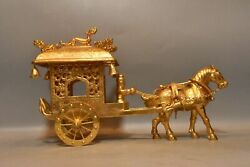 13.8 China Antique Dynasty Bronze 24k Gilt Flower Horse People Vehicle Statue