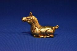 2.9 China Antique Liao Dynasty Bronze 24k Gilt Horse Paperweight Statue