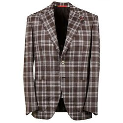 Isaia 'marechiaro' Layered Check Soft Brushed Flannel Wool Suit 44r Eu 54