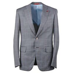 Isaia Modern-fit Gray And Aqua Check Super 140s Wool Suit 36r Eu 46 Gregorio