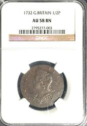 1732 Great Britain Half Penny == Au-58 Brown Ngc == Very Nice And So Close ==