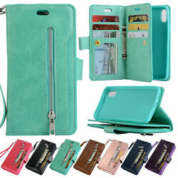 Leather Magnetic Zipper Wallet Case Cover For Iphone 11 Pro Max Xs Xr 8 Plus 7 6