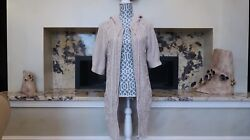 Cynthia Vincent Half Sleeve Knitted Full Zip-up Hooded Cardigan
