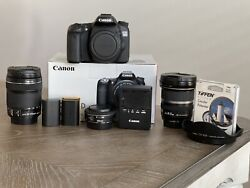 Canon Eos 70d W/ 10-22mm Wide Angle Lens, 18-135mm Zoom Lens, And Ef 40mm Lens