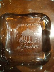 Rare Greenbrier Resort 1956 American Hotel Assoc Conference Glass Etched Ashtray