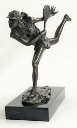 Female Tennis Player Pro Bronze Marble Statue Bookend Athlete Sports Trophy Deal