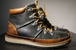 Sperry High Top Sider Leather Shoes Boots Brown Black Mens Size 10