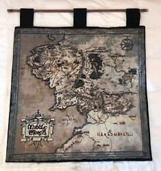 Rare Tolkien Lord of the Rings Middle Earth Hanging Wall Tapestry Map