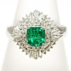 Platinum 900 Ring 13 Size Emerald 0.67 Diamond About7.6g Free Shipping Used