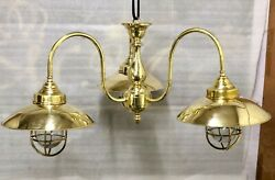New Nautical Sconce Solid Brass Triplet Hanging Ship Light With Shade Lot Of 5
