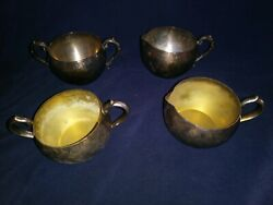 Lqqk Vintage Oneida And Wm A Rogers Silverplate Creamer And Sugar Bowl Sets