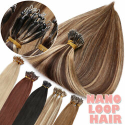 Nano Loop Ring Tiny Beans Remy Human Hair Extensions Straight Hair Brunette 300s