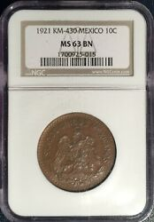 1921 Mo Mexico 10 Centavos ==ms-63 Brown Ngc == Chocolate Brown=scarcest Date