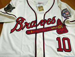 New Ivory Atlanta Braves 10 Chipper Jones Cooperstown 2patch Sewn Jersey 2xl