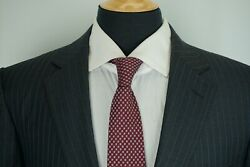 Recent Roma Charcoal Blue Striped Wool 2 Pc Suit Sz 46r