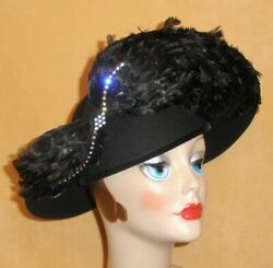 Mr Hiand039s Classic Black Wool Hat W/ Raised Brim Accented W/ Rhinestones And Feathers