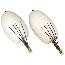 1950s Set Of Two Mid-century Modern Brass And Glass Wall Sconces By Arredoluce