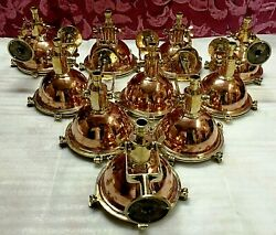 Nautical New Marine Brass And Copper Hanging Small Light With Base Stand Lot Of 10