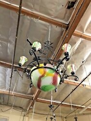 Vintage Art Deco Style Chandelier Wrought Iron And Blown Glass Green Multi