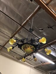 Vintage Wrought Iron Chandelier And Glass Shades Green Peacock Art Deco Style