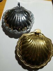 2 Vintage Clam Shell Hinged Condiment Dishes Made In England Silver Plate +brass