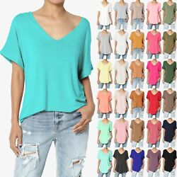 Themogan S3x Wide V-neck Cuffed Short Sleeve Curved Hem Luxe Jersey Top