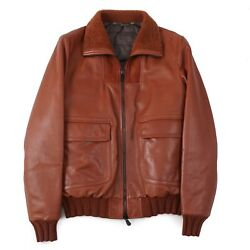 Cesare Attolini Down-filled Leather Bomber Jacket With Shearling Collar M Eu50