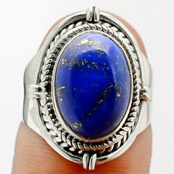 Natural Lapis - Afghanistan 925 Sterling Silver Ring S.6.5 Jewelry 1140