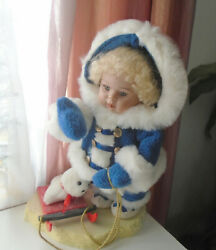 Vtg Telco Girl Play W Toy Winter Motionette Xmas Display Decor Electric Rare