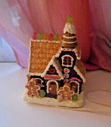 Vtg Lighted Gingerbread House Christmas Tree Village Cookies Shop