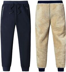 Flygo Menand039s Fleece Sherpa Lined Winter Sweatpants Running Track Camping Joggers