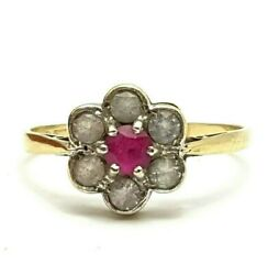 Vintage Hallmarked 1969 9ct Gold Natural Ruby And Spinel Daisy Ring Size Uk O 1/2