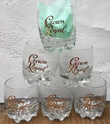 6 Crown Royal Italy 10 Oz. Gold Cursive Lowball Glasses Whiskey On The Rocks