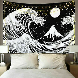 USA The Great Wave Wall Tapestry Black and White Wall Hanging Tapestries Decor