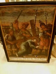 Lg Antique Jesus Christ Painting Station Of The Cross German 18th-19th Cen 5