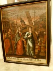 Lg Antique Jesus Christ Painting Station Of The Cross German 18th-19th Cen 4