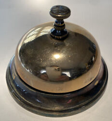 Solid Bronze Fancy Hotel Desk Bell Antique Vintage With Twist Button Operation.