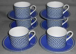 Set 6 Victoria And Beale Williamsburg Pattern Cups And Saucers