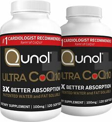 [2-pack] Qunol Ultra Coq10 100mg 3x Better Absorption Patented Water And...