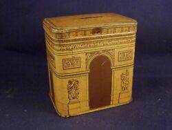 Vintage Tin Box Candy Advertising France Arc De Triomphe Moneybox Rare Years 20