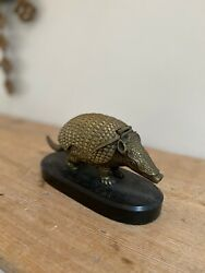 Antique Brass Armadillo Double Inkwell
