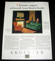 1929 Old Magazine Print Ad Kroehler Furniture A New Living Room For Christmas