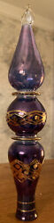 """11"""" Egyptian Museum Fine Hand Blown Glass Purple/blue Etched Tree Topper"""