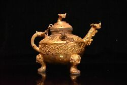 9.4 Chinese Antique Qing Dynasty Bronze 24k Gilt Dragon Mouth Three Foot Teapot
