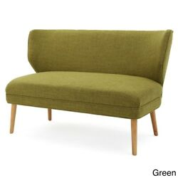 Mid-century Solid Green Frabic Upholstered Single Cushion Loveseat Sofa- Seats 2