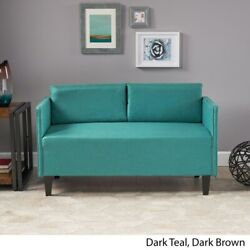 Casual Dark Teal 100 Polyester Upholstered Piped Edge Loveseat Sofa Seats 2