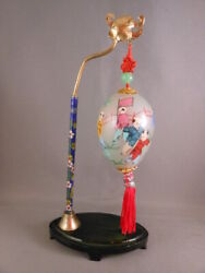 Rare Vtg Oriental Hand Painted Glass Egg Jade Bead Gold Wood And Cloisonne Stand