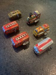 Vintage Tin Wind Up Made In Japan Toys - All Working - Set Of 6